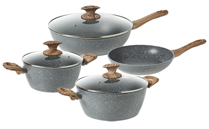 Bergner's Granito 4-piece Aluminium Cookset — Inspired by Natural Wood and Stone
