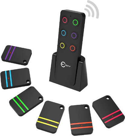 Key Finder, Esky RF Item Locator with 1 Transmitter and 6 Receivers — 6 multicolour receivers with a sleek transmitter