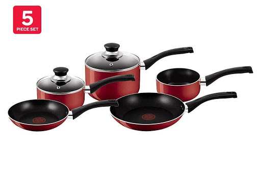 Tefal Bistro Red Cook 5-piece pan set — Vented glass lids