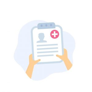 medical history patient file in hands eps vector